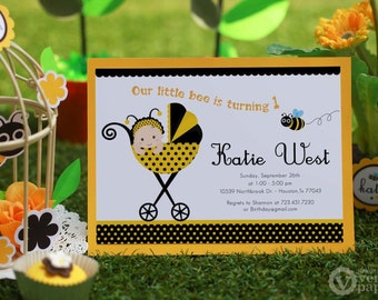 DIY PRINTABLE Invitation Card - Baby Bumble Bee Birthday Party - PS816CB1a3