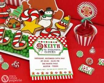 DIY PRINTABLE Invitation Card - Christmas Sweet Shoppe Birthday Party Invitation - PS001CA1a1
