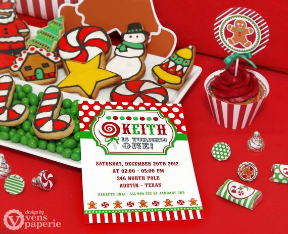 DIY PRINTABLE Invitation Card Christmas Sweet Shoppe Birthday – Christmas Party Invitation Card