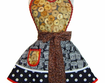 """Coffee and Bagels Retro Diner Pinup Apron-A """"Tie Me Up Aprons"""" Exclusive"""