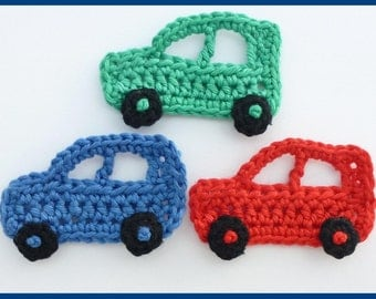 Crochet appliques, crochet cars, 3 small applique cars,  cardmaking, scrapbooking, appliques, craft embellishments, sewing accessories.