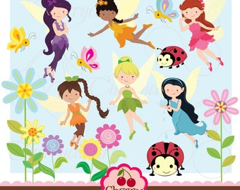 Cute Fairies digital clipart set for -Personal and Commercial Use-paper crafts,card making,scrapbooking,web design