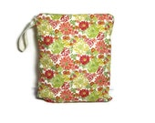 orange green floral wet bag bathing suit swim beach pool summer waterproof cloth diaper bikini zipper medium