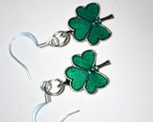 Shiny Clover / Shamrock Charm Earrings - St. Patrick's Day - Pierced Ears or Clip-On - MandaLynnCreations