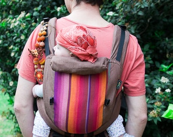 Full Buckle Ergonomic soft baby carrier from cotton and Girasol Betula or Chichi red panel