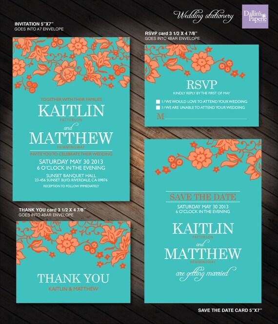 Turquoise And Orange Flower Wedding Printables Customized