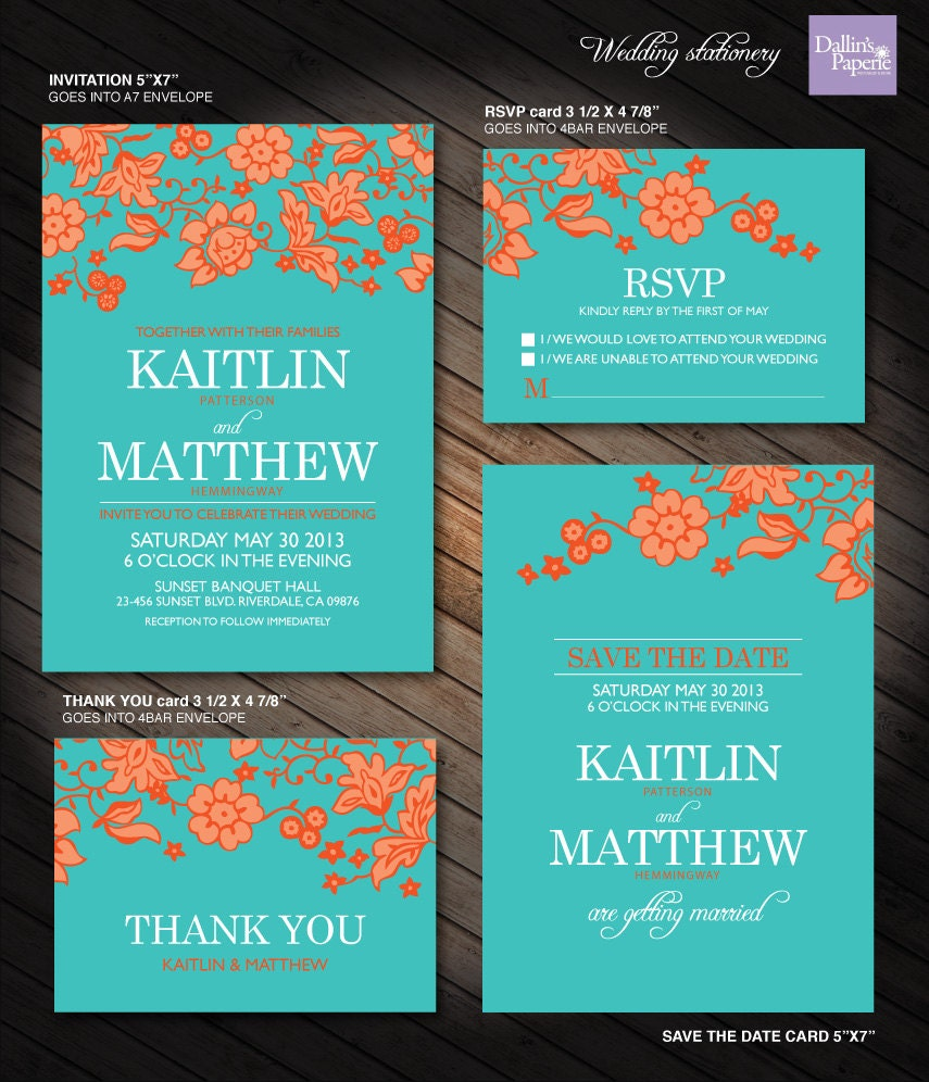 orange and turquoise wedding invitations. 🔎zoom orange and turquoise wedding invitations s