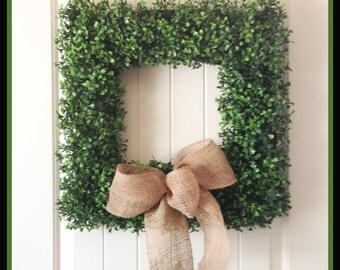 Boxwood Wreath - Square Boxwood Wreath  - Artificial Boxwood - Wreaths - Year Round Wreaths - Burlap Ribbon - Front Door Wreath