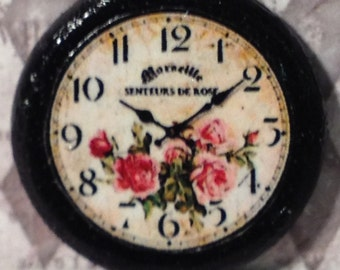 "Dollhouse More Miniature 'Marseille Rose"" Wall Clock, Scale One Inch"
