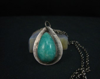 hand forged pendant,natural Russian amazonite teardrop handcrafted pendant