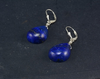 genuine lapis lazuli teardrop earrings