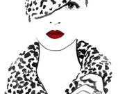 Black, White and Red Watercolor Fashion Illustration Painting Art Print