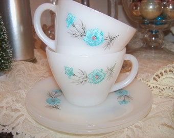 TWO  Bonnie Blue Fire King Tea Cups and Saucers Like New