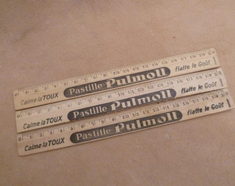 Vintage Wood Advertising Ruler French Pharmacy Pastille Pullmon Circa 1940s