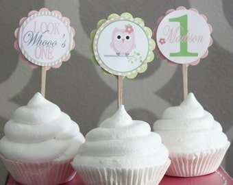 LOOK WHOOO'S... OWL Theme Birthday or Baby Shower Cupcake Toppers Set of 12 {One Dozen}