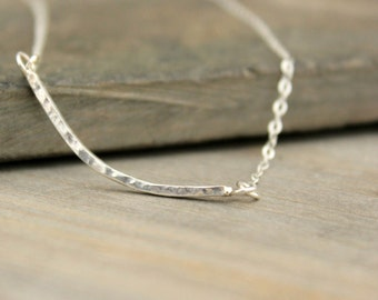 "Sterling Silver Curved Bar Necklace Minimal Sterling Silver Modern Collarbone Hammered High Polish Shiny Bright Silver--""barre"""