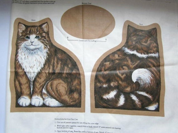 Vintage Sewing Cat Cut Outs Fabric Panel Pillow By