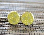 Mustard Ear Studs, Yellow Ear Studs, Mustard Earrings, Japanese Chiyogami, Wood studs, Gift under 10, Yellow earrings