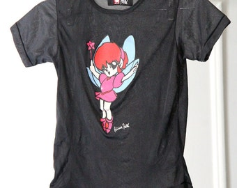 Manga Fairy 90s Patricia Field Sheer Stretchy Black Baby Tee