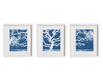 Three Prints - Blue Tree Print Set Wall Art - Set of Three