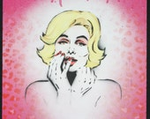 Marilyn Monroe Cheetah Stencil Art Acrylics & Spray Paint on Wood