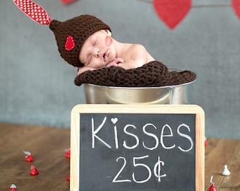Newborn Hershey Kiss Hat - Valentine Hat