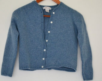 Vintage Sweater Blue 100% Lambswool Wool w/ Pearlized Buttons Long Sleeve 3/4 sleeve Adult Teen xs Small Womens Button Up Cover Midriff Boho