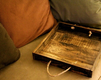 Reclaimed pallet wood furniture, square serving tray, Stained espresso, Handmade, rustic home décor