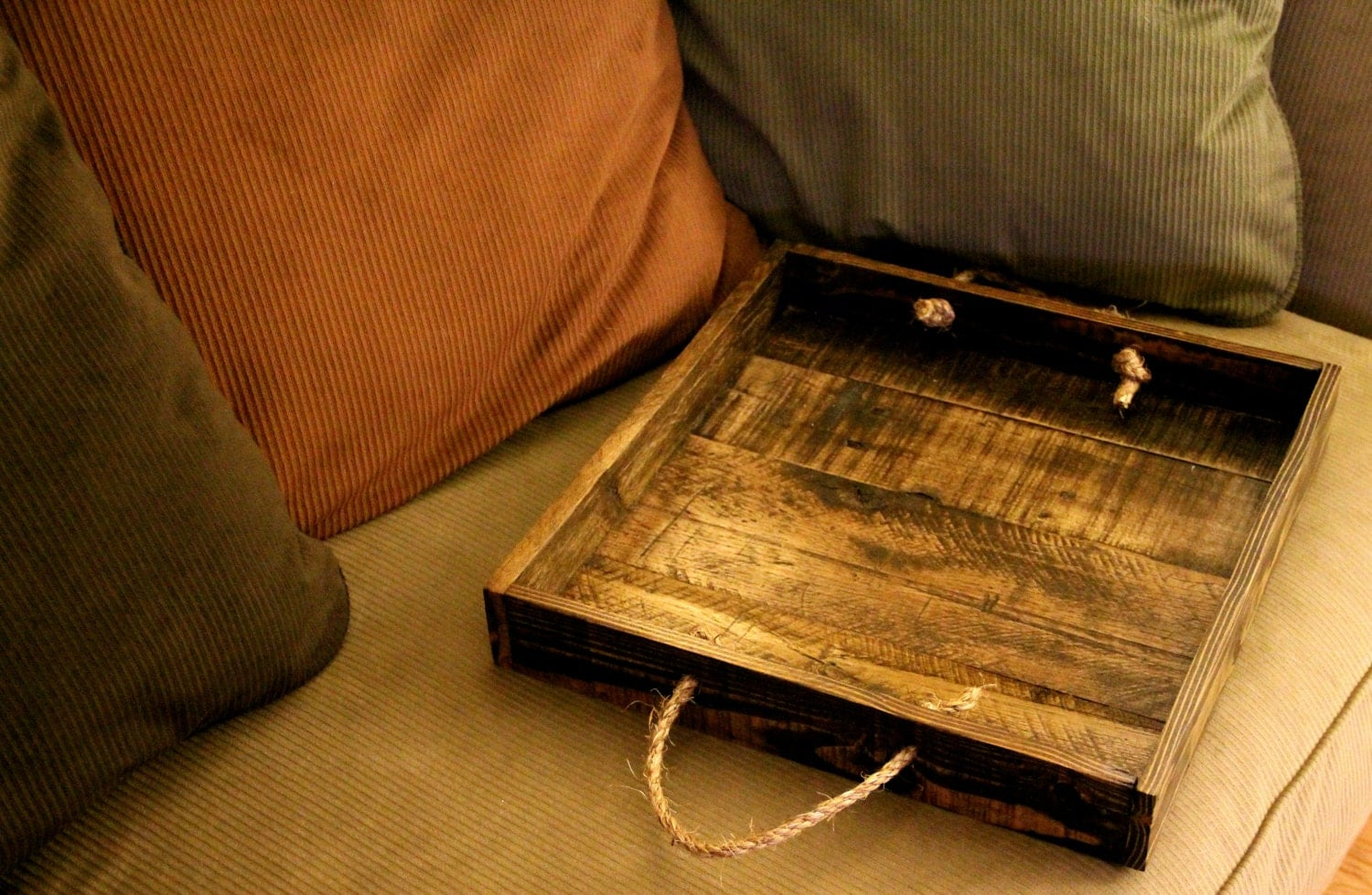 Reclaimed pallet wood tray rustic ottoman tray square
