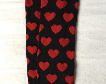 Red and Black Heart Heart Heart Baby Legs/ Valentine's Day Leg Warmers- Free Domestic Shipping