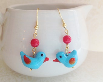 Little Blue Bird Earrings. Glass. Dangle. Red Round Stone Beads. Gold Tone Hooks. Dangle Earrings. Woodland. Whimsical. Cute. Miniatures.