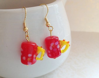 Miniature Red Glass Coffee Mug Earrings. Yellow. Floral. Coffee Lover. Whimsical. Dangle Earrings. Gold Hooks. Under 10.