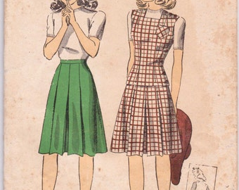 Du Barry 40s Sewing Pattern 5425 Rare Teens Skirt and Jerkin Size 12 Sale