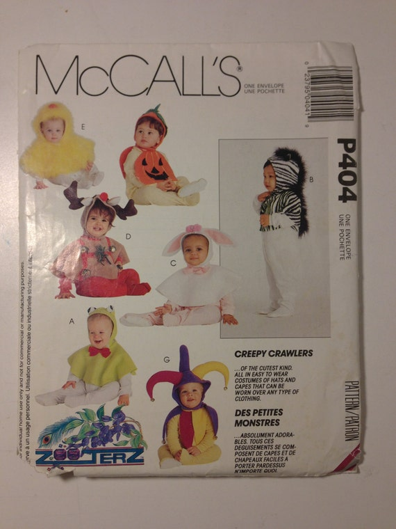 McCalls 90s Sewing Pattern P404 Infants and Toddlers Hoods and Capes Costumes