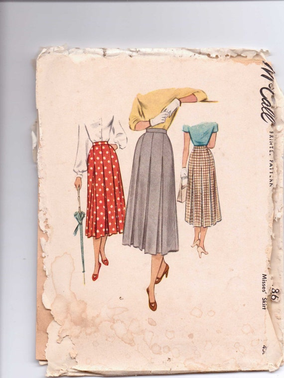 McCalls 40s Sewing Pattern 8086 Misses Skirt Size 23 Sale