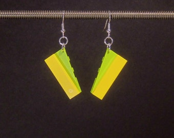 Angular yellow and lime green earrings with silver plated ear wires