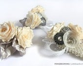 Silver and Ivory Ribbon Rose Corsage - Pick Your Colors - Made to Order