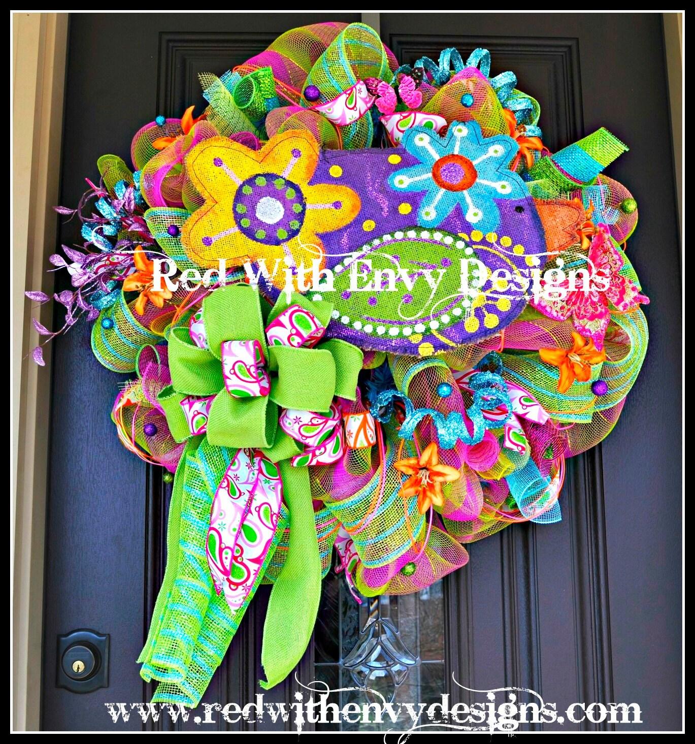 Summer Wreath Wreath Deco Mesh Wreath Deco Mesh Spring