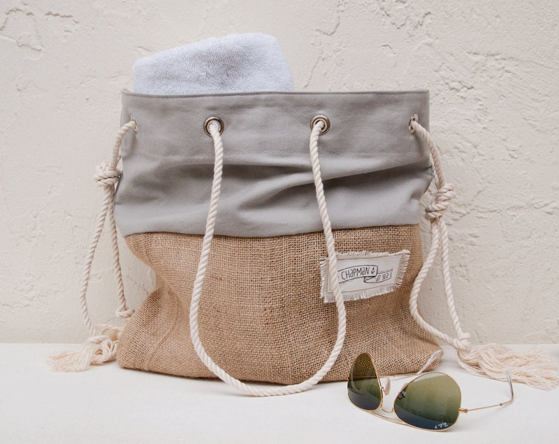 Gray Canvas Tote Large Beach Bag Beach Tote Burlap Grey Canvas