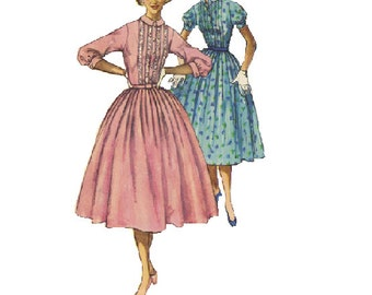 1950s Garden Party Tea Dress Simplicity 2126 Sewing Pattern Full Circle Skirt Lace Bodice Short Puff Sleeves High Collar Uncut FF Bust 32