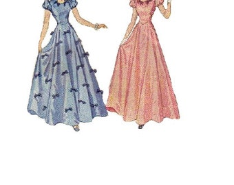 Simplicity 3243 Sewing Pattern 1930s Girls Party Dress Teenager Prom Gown Full Skirt Puff Short Sleeves Fitted Bodice Bust 28