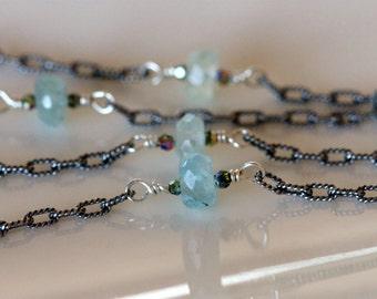aquamarine and Swarovski crystal tin cup necklace / floating gemstones / station necklace / blue gemstone choker / handmade by girl three