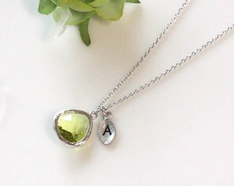 Initial necklace, Leaf initial, Peridot crystal pendant necklace, Olive Green,  August Birthstone, Birthday Gift
