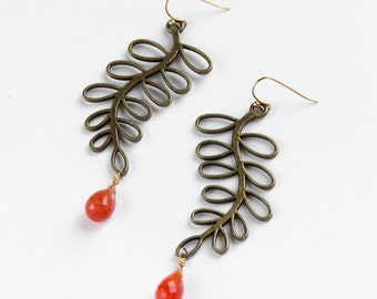 Brass & Carnelian Earrings, Branch, Orange, Tangerine, Semi Precious Gemstone, Long Earrings