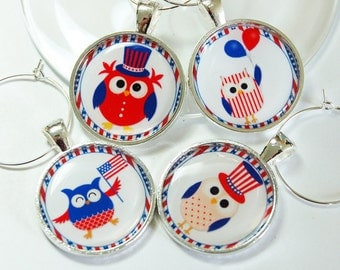 4th of July, Wine Charm, Wine Glass Charms, Owls, Wine Charms, barware, entertaining, Independence Day, red white blue (2624)