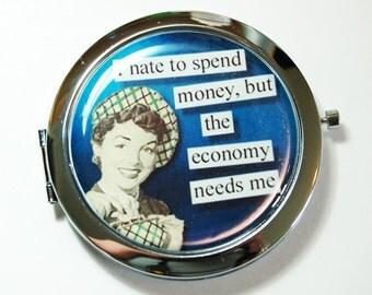 Funny compact mirror, purse mirror, humor, funny saying, compact mirror, pocket mirror, blue, shopping (2650)