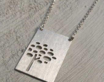 autumn tree - silhouette necklace - brushed silver