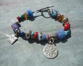 Artisan, Handmade, OOAK, Lampwork, Sterling Silver, Multi Gemstone & Sterling, Charm Bracelet