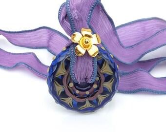 Midnight Mandala Lampwork Glass Pendant with Silk Ribbon