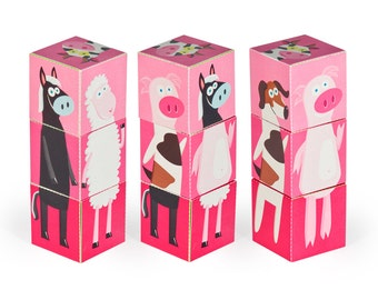 Farm Animals Blocks - Pink - PRINTABLE PDF Toy - DIY Craft Kit Paper Toy - 3 paper blocks - Heads, Arms and Legs  - Birthday Party Favor